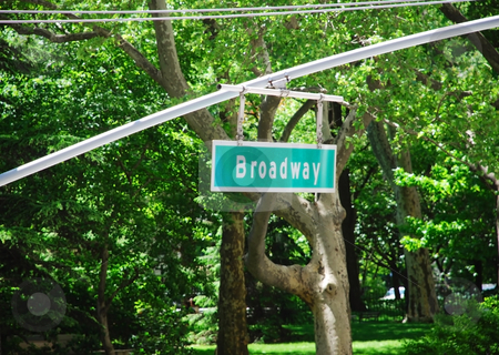 Broadway sign in New York stock photo, Broadway traffic sign in New York over green leaves by Julija Sapic