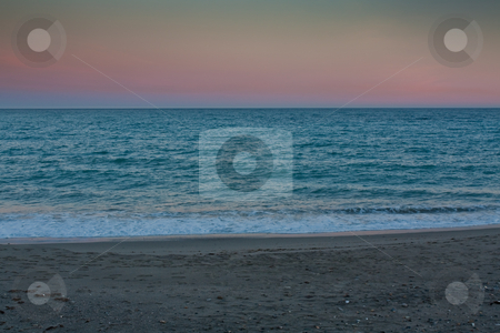 Seaview at dusk stock photo, Nice colored haze in a  seaview at dusk by Santiago Hernandez