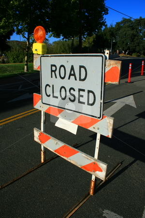 Road Closed Sign  stock photo,  by Michael Felix