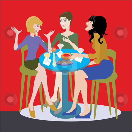 Lunch with the Girls stock vector clipart, A happy scene of women eating in a restaurant, laughing, telling a story in a colorful illustration. by Maggie Bates