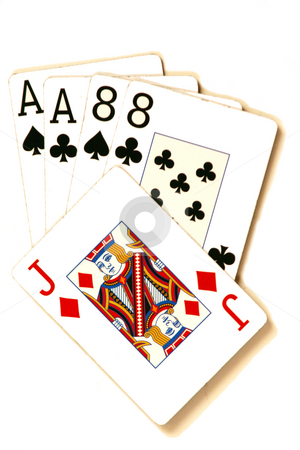 AcesnEights stock photo, The Dead Man's Hand - the hand Wild Bill Hickock was holding when he was shot. However, there is a dispute about the Jack of Diamonds and whether it was the fifth card or not. by Ralph Muzio