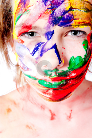 Looking at you with paint smeared on my face stock photo, Studio portrait of a teenage model with paint on her face by Frenk and Danielle Kaufmann