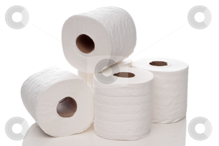 A horizontal view of quilted white toilet paper on a white refle stock photo, A horizontal view of quilted white toilet paper on a white reflective surface by Vince Clements