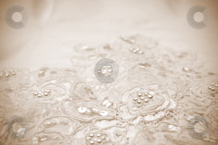Sepia Toned Close-up of wedding dress details stock photo, Sepia Toned Close-up of wedding dress details by Vince Clements