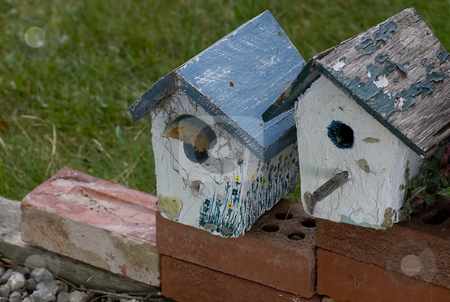 Old bird houses stock photo, A couple of old bird houses sitting on red bricks. by Kevin Woodrow