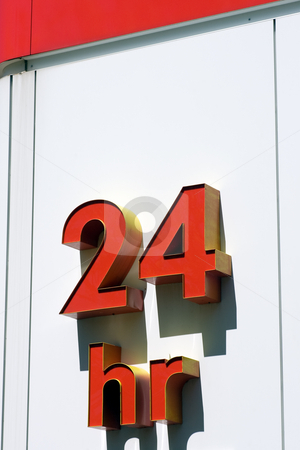 24Hr Signage stock photo, 24Hr Sign on white background. by Kevin Woodrow