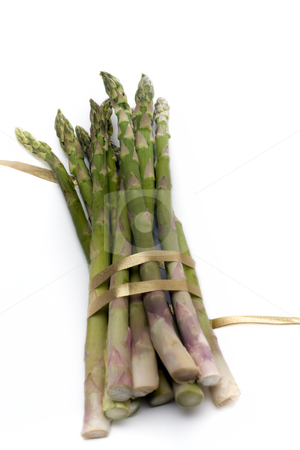 Asparagus with ribbon stock photo, A bunch of asparagus, tied with gold ribbon, isolated on white. by Kevin Woodrow