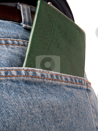 Back Pocket Series - Cheque-book stock photo, A closeup of a cheque book in the back pocket of blue jeans, isolated on white. by Kevin Woodrow