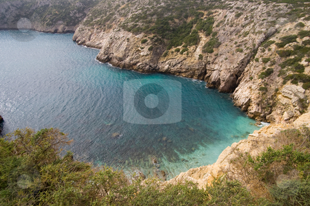 Small Bay in Portugal stock photo, A small bay in the Algarve with clear emerald water, on the way to Cape Saint Vincent, Sagres, Portugal. by Kevin Woodrow