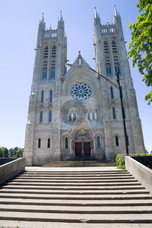 Church of our Lady stock photo, Looking up at the Church of Our Lady. Guelph, Ontario, Canada by Kevin Woodrow