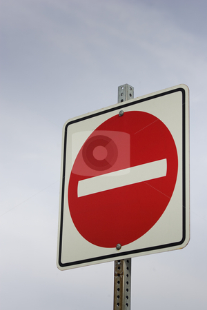 No entry stock photo, A red no entry sign against a sky background. by Kevin Woodrow
