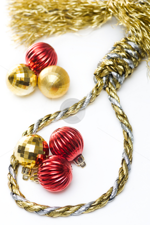 Christmas Noose stock photo, Noose made out of christmas rope, with baubles in the background, isolated on white. by Kevin Woodrow