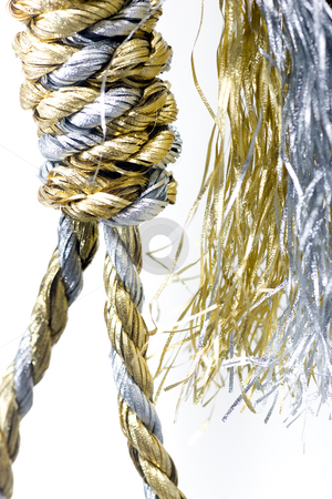 Christmas Pressures stock photo, Noose made out of christmas rope, isolated on white. by Kevin Woodrow