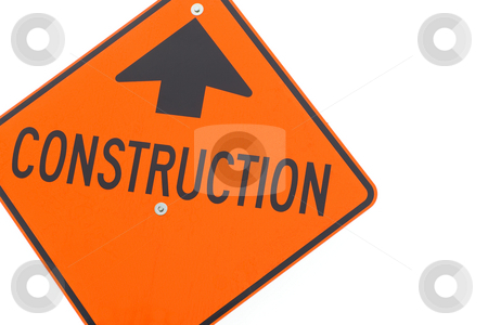 Construction Sign - Horizontal stock photo, Bright orange construction sign, isolated on white. by Kevin Woodrow