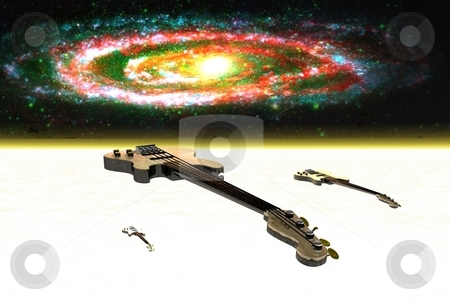 OUT THERE stock photo, SPACECRAFTS IN THE FORM OF ELEC. BASE GUITARS ORBITING AROUND A HEAVENLY BODY. by JC MATLOCK