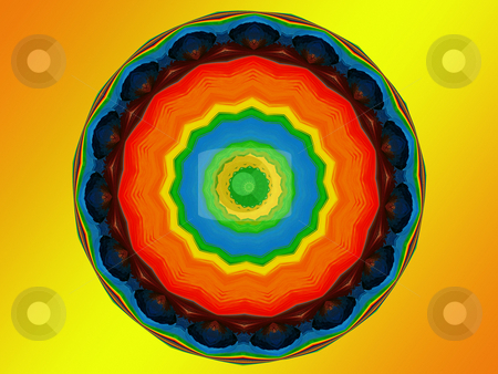 Chakra Mandala stock photo, Spiritual mandala featuring the seven colors of the chakra, representing spiritual advancement by Sandra Fann