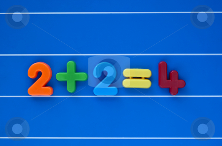 It stands to reason. stock photo, A simple sum, from a child's toy number set, placed in the centre of a blue, lined background. by Alistair Scott