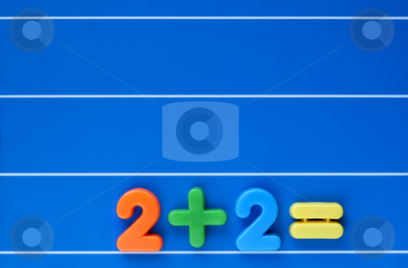 And the answer is? stock photo, A sum, from a child's toy number set, placed at bottom right of a blue, lined background. Space for text top left. by Alistair Scott