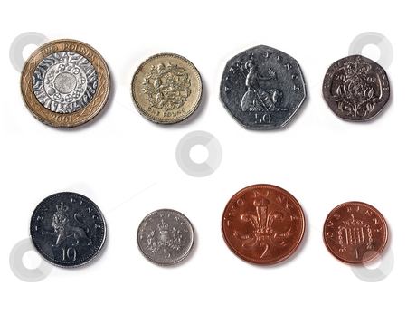 Isolated Front Facing of Coins of united kingdom stock photo, Coins of united kingdom, England by Mark Allchin