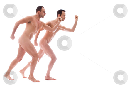 Nude run stock photo, Artistic nude forms with 2 powerfull men by Frenk and Danielle Kaufmann