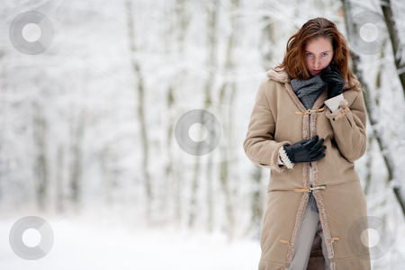 Winter landscape beautiful woman in white landscape stock photo, Beautiful woman in white landscape by Frenk and Danielle Kaufmann