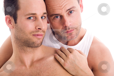 Homo portrait stock photo, Portrait of a happy homo couple on white by Frenk and Danielle Kaufmann