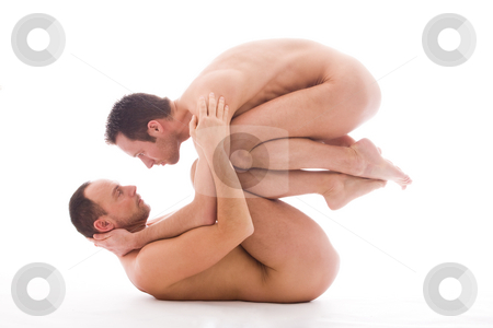 Lifting you up stock photo, Artistic nude forms with 2 powerfull men by Frenk and Danielle Kaufmann