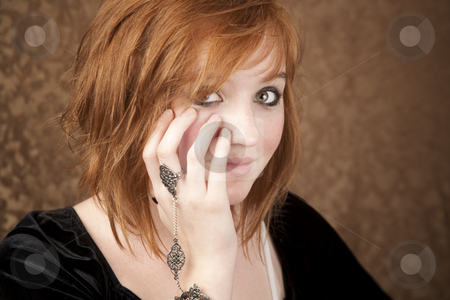Closeup of Pretty Young Girl stock photo, Portrait of pretty teen girl with red hair by Scott Griessel