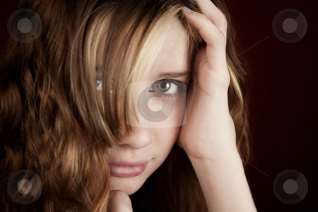 Closeup of Pretty Young Girl stock photo, Portrait of pretty teen girl with green eyes by Scott Griessel