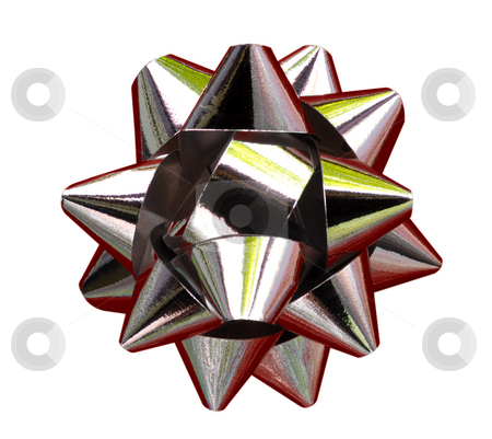 Star stock photo, A decorative star, made from braided silver ribbon, isolated on white (with clipping path). by Alistair Scott