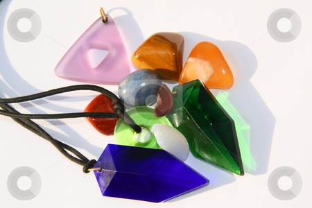 Various gem stones and chakra crystals stock photo, Various crystals, tachyons and chakra stones by Chris Alleaume
