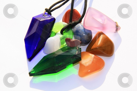Crystals and gem stones stock photo, Various crystals, tachyon crystals and semi precious gem stones by Chris Alleaume