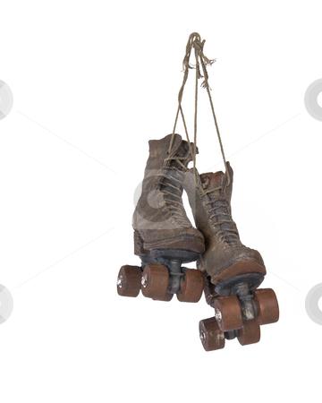 Roller skates  stock photo, Hanging ornamental vintage roller skates by R Deron