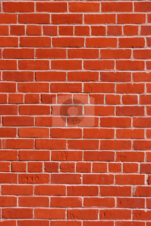 Red Brick Wall stock photo, Red brick wall with light cement in between. by Denis Radovanovic