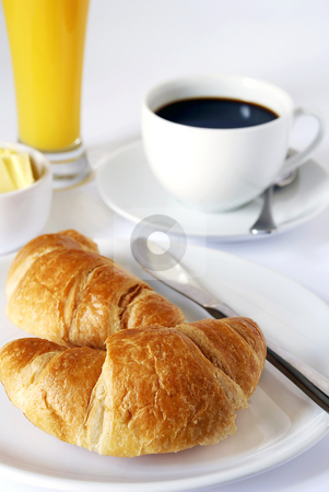 Continental breakfast stock photo, Continental breakfast of coffee, orange juice and croissants by Paul Turner
