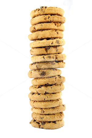 Cookie tower stock photo, A tower of delicious chocolate chip cookies by Paul Turner