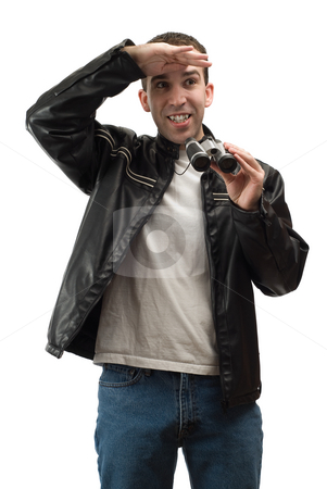 Spectator stock photo, A spectator shading his eyes from the sun, while holding a set of binoculars, isolated against a white background by Richard Nelson