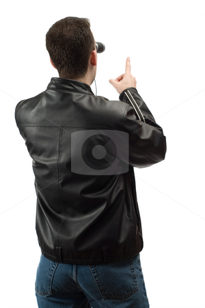 Pointing Spectator stock photo, A rear view of a spectator wearing a leather jacket, and pointing at something, isolated against a white background by Richard Nelson