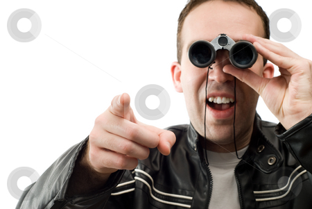 Man Watching With Binoculars stock photo, Closeup view of a man watching through a set of binoculars and pointing, isolated against a white background by Richard Nelson