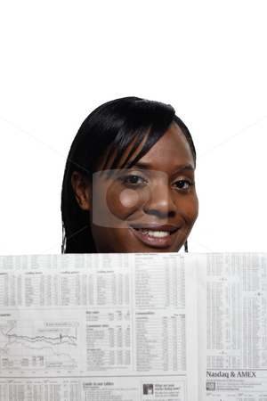 Woman Smiling - Vertical stock photo, Woman smiling while reading the paper. Vertical shot, isolated against a white background by Orange Line Media