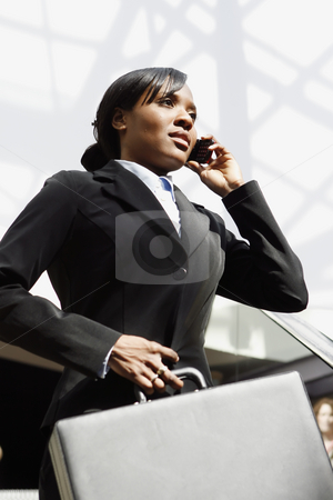 Businesswoman on the Phone stock photo, Young attractive businesswoman talking on her cellphone, holding a briefcase. Vertically framed shot by Orange Line Media