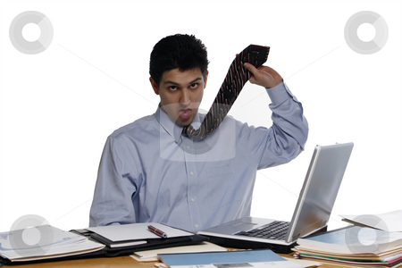 Too Much Work, Just Kill Me stock photo, Overworked businessman sitting at a desk pretending to hang himself with his tie.  Shot horizontal isolated on white. by Orange Line Media