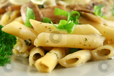 Mushroom Pasta stock photo, Creamy mushroom penne pasta with shredded cheese. by Brett Mulcahy