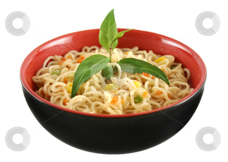 Noodle Soup stock photo, Delicious Singapore noodle soup with Vietnamese mint. by Brett Mulcahy