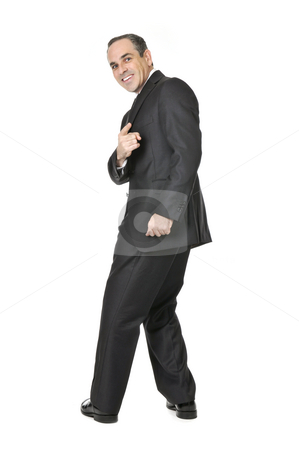 Businessman on white background stock photo, Happy businessman in a suit pointing at the viewer isolated on white background by Elena Elisseeva