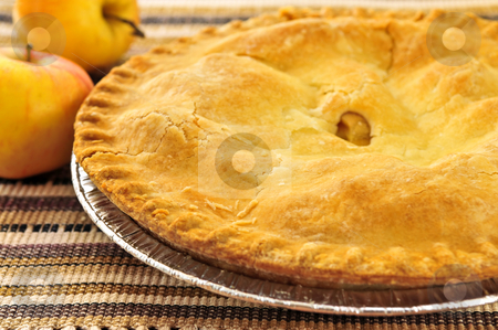 Apple pie stock photo, Whole apple pie with apples close up by Elena Elisseeva