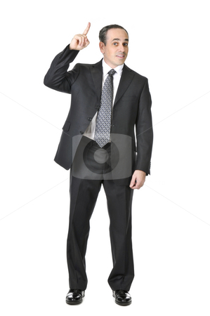 Businessman on white background stock photo, Happy businessman in a suit having an idea isolated on white background by Elena Elisseeva