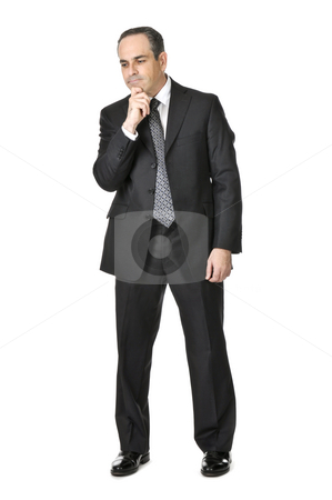 Businessman on white background stock photo, Thinking businessman in a suit isolated on white background by Elena Elisseeva