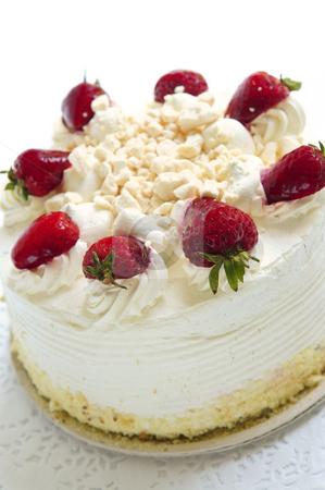 Isolated cake stock photo, Whole strawberry meringue cake on white background by Elena Elisseeva