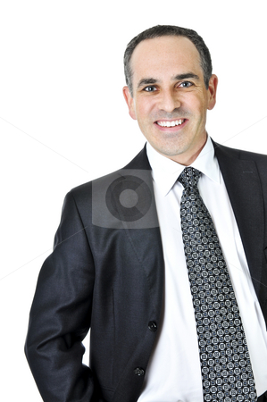 Businessman on white background stock photo, Businessman in a suit isolated on white background by Elena Elisseeva